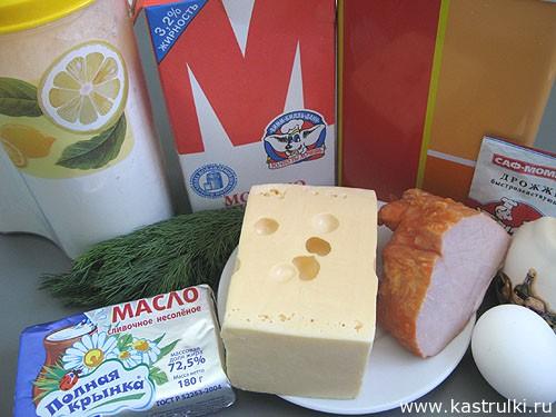 Рулетики с сыром и ветчиной