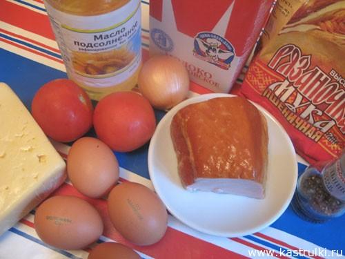 Омлет с ветчиной, сыром и помидорами