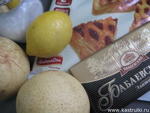 Пирог с грушами и шоколадом