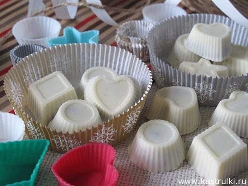 Конфеты из белого шоколада с кофейной начинкой