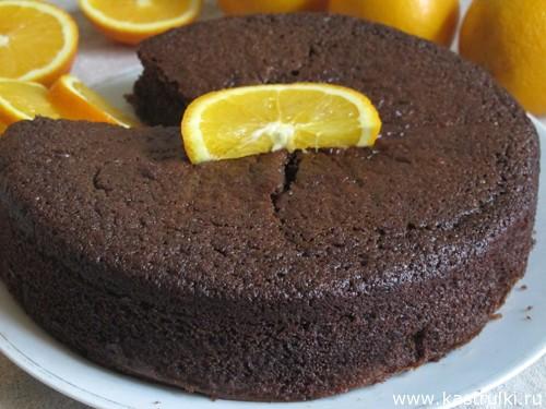 Постный шоколадный пирог на апельсиновом соке