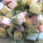Салат с огурцом, ветчиной и сыром
