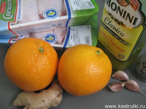 Курица, запеченная с апельсинами и имбирем