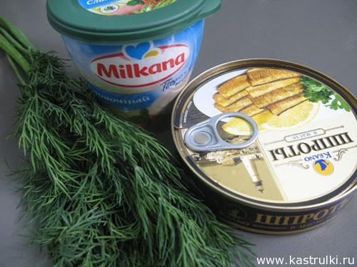 Крем из шпрот с творожным сыром