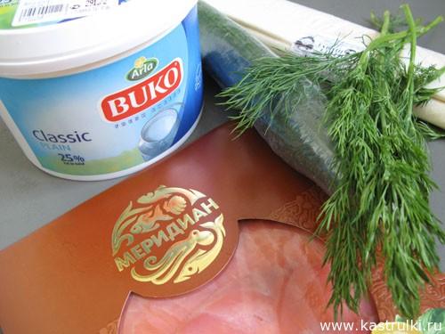 Рулетики с семгой и сливочным сыром