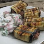 Рулетики из баклажанов на мангале